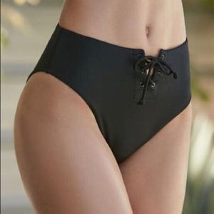 Pacsun High Waisted Lace Up Black Bikini Bottoms